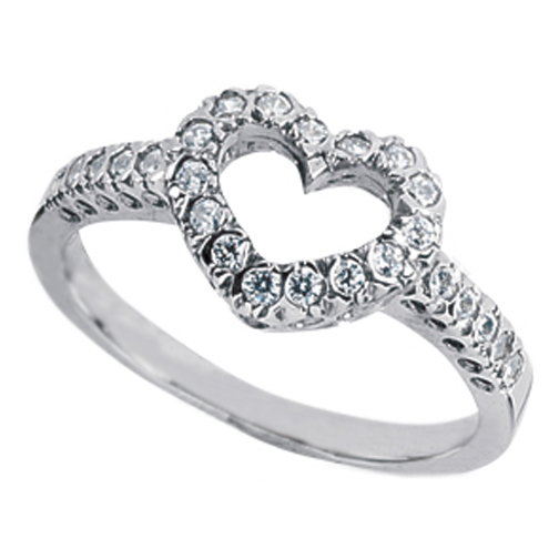 Open Heart Design pave diamond Ring 0.25 TCW