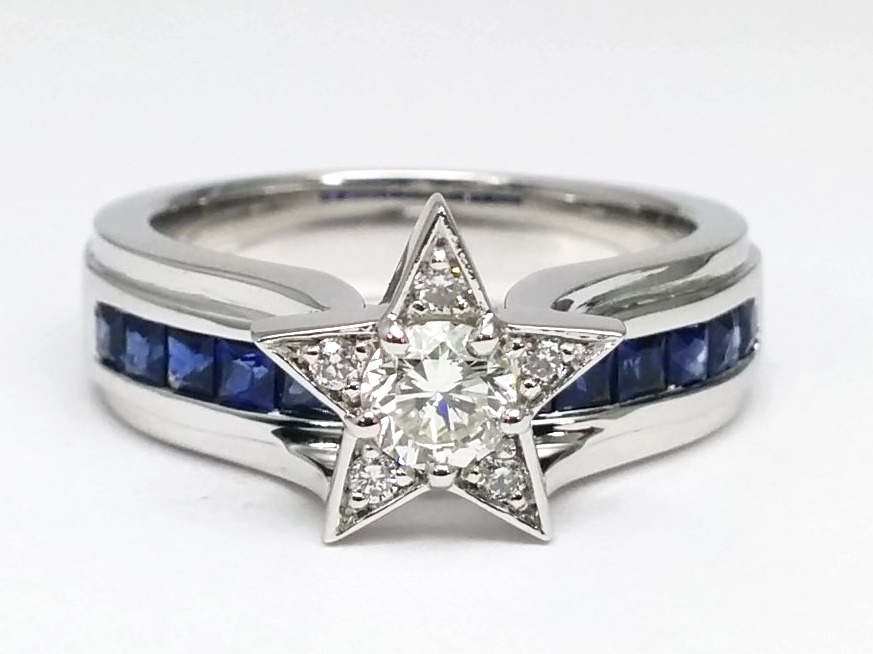 Diamond Star Blue Sapphire Bridge Engagement Ring