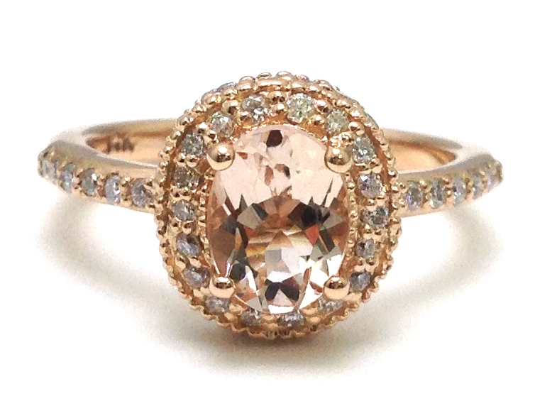 Oval Morganite Ring Double Diamond Halo in Rose Gold