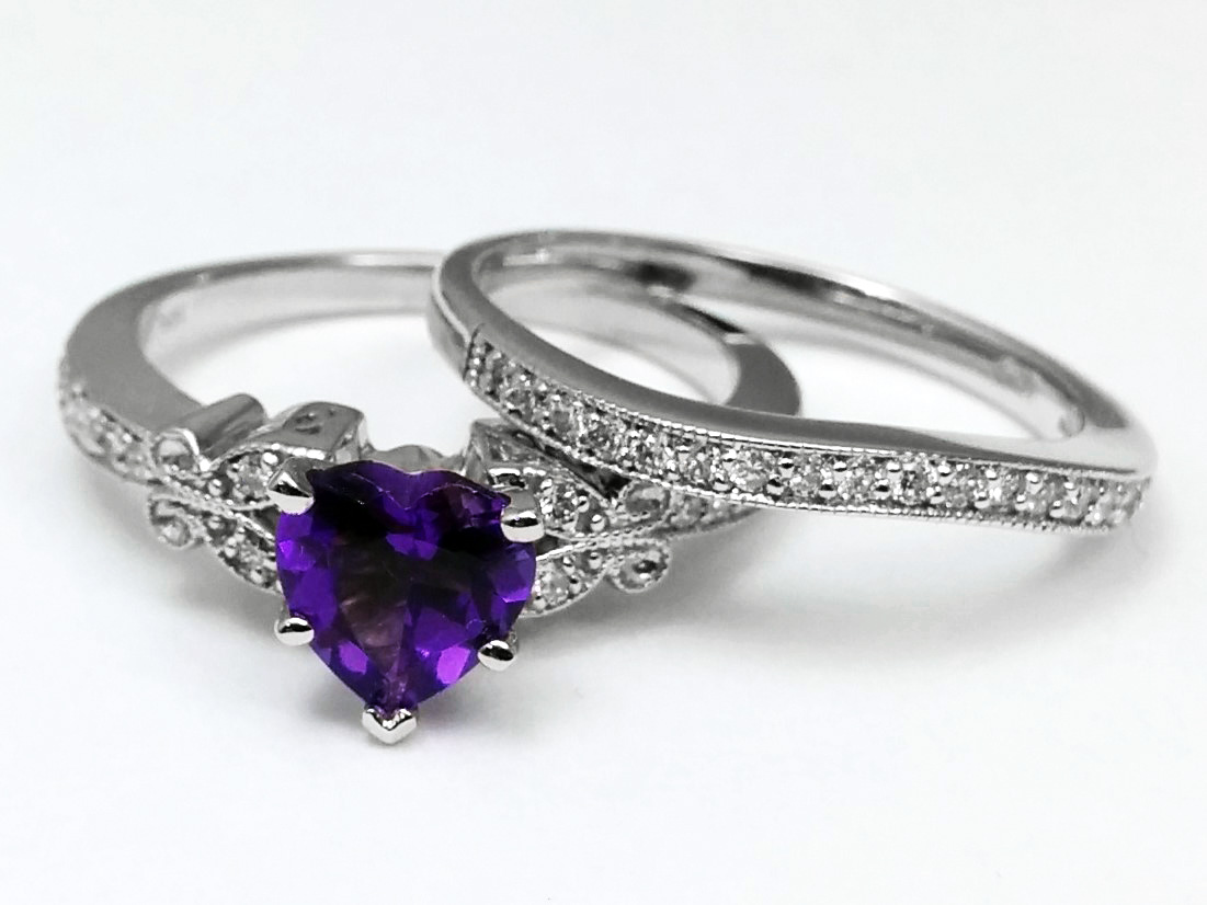 Amethyst Butterfly Vintage Engagement Ring & Matching Wedding Band 0.37 tcw. In 14K White Gold
