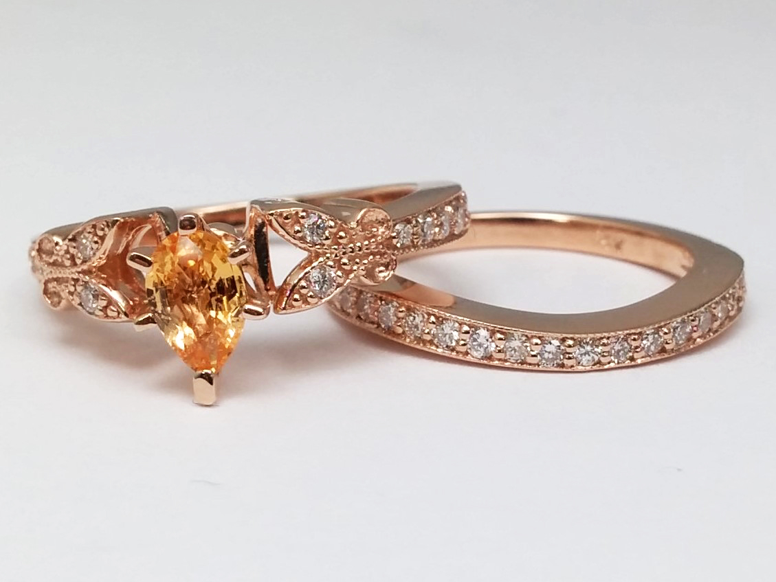 Peach Champagne Sapphire Butterfly Vintage Engagement Ring & Matching Wedding Band 0.37 tcw. In 14K Rose Gold