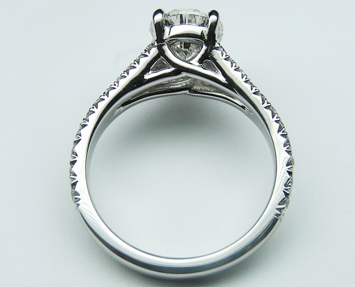 Pear Diamond Engagement Ring, Trellis Curved Pave Split Band, 0.48 tcw. In Platinum