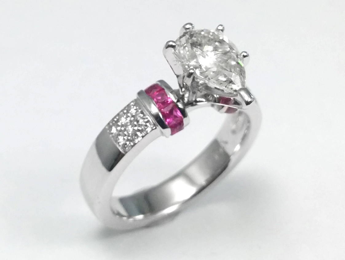 Pear Diamond Engagement Ring Square Pink Sapphire Band in 14K White Gold