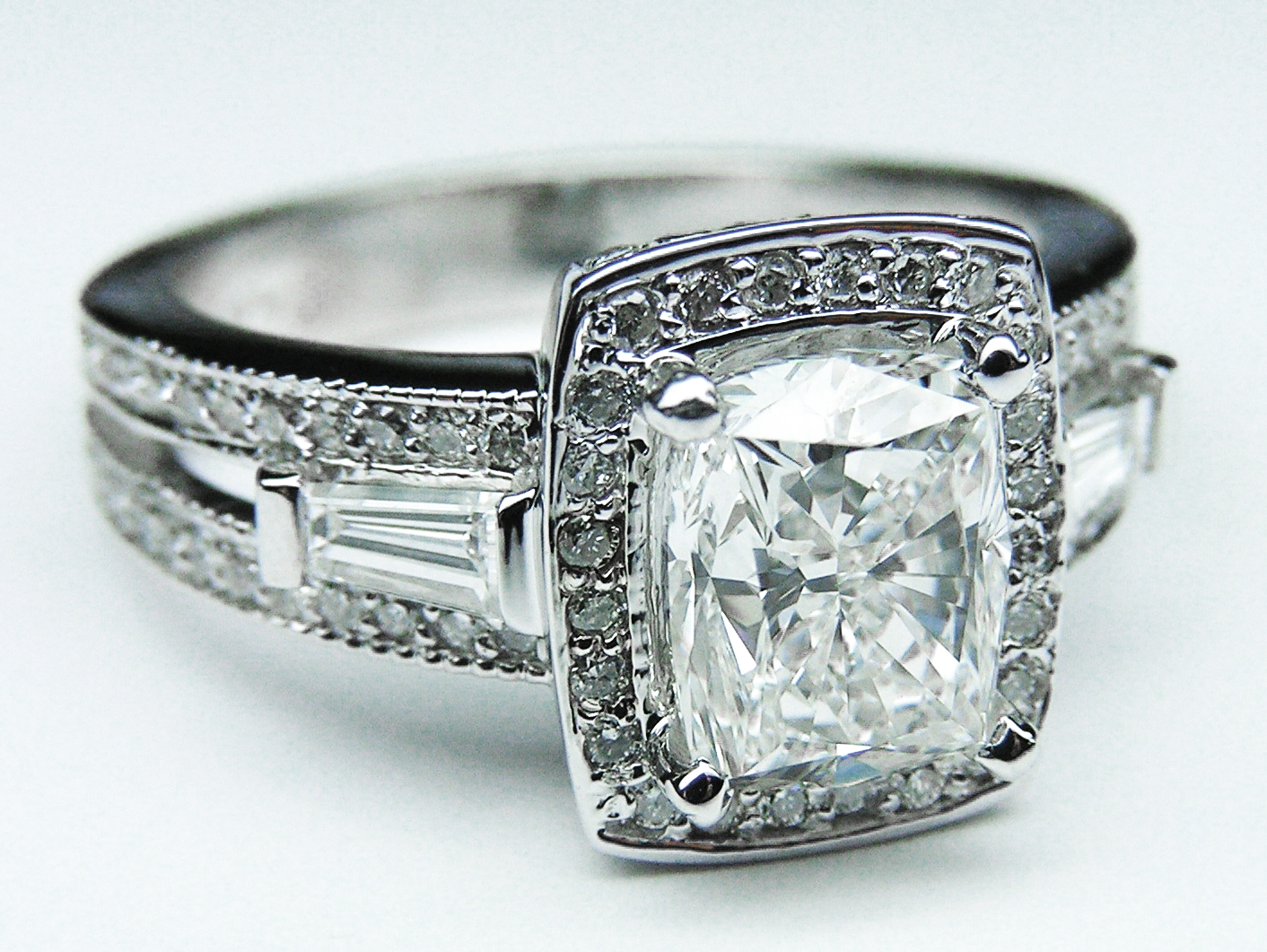 Cushion Diamond Halo Engagement Ring Baguettes in 14K white gold