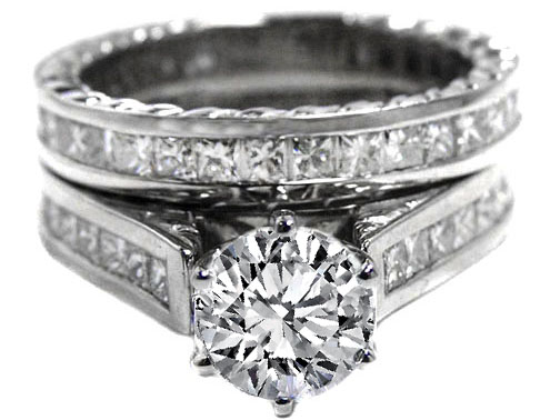 Diamond Engagement Ring & Matching Wedding band  Princess Diamonds Band 2.32 tcw. 14K White Gold