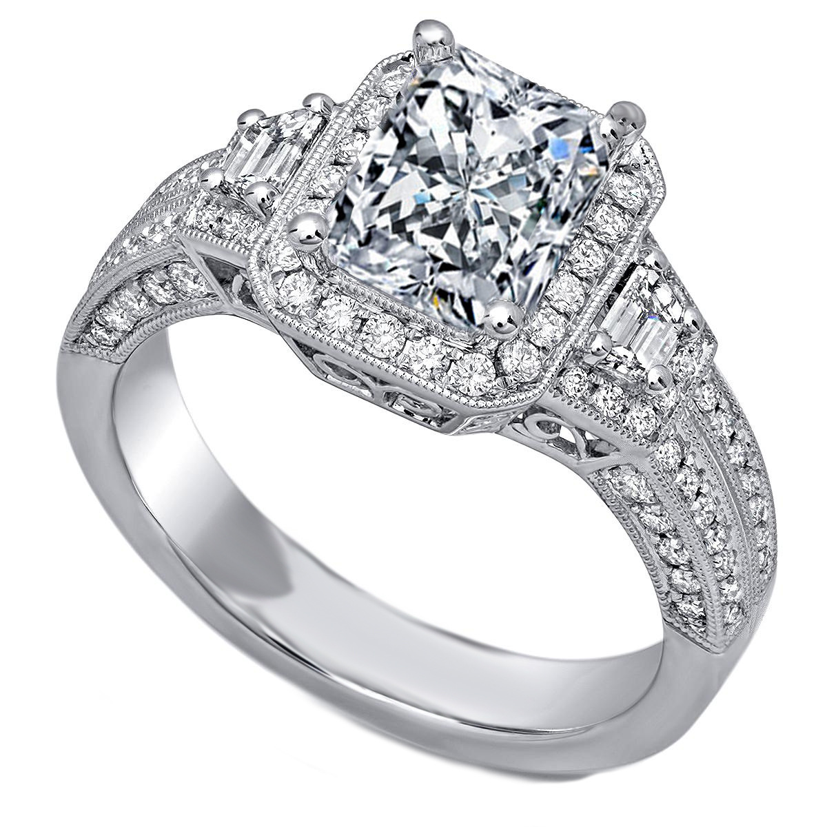 Cushion Diamond Halo Engagement Ring Trapezoids  Side Diamonds