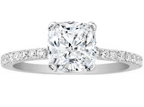 Cushion Cut Diamond Petite Engagement Ring Pave Band in 14K White Gold