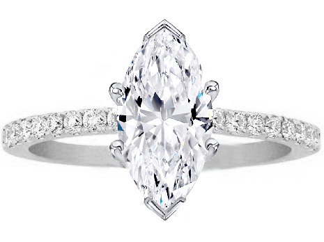 Marquise Shape Diamond Petite Engagement Ring Pave Band In 14K White Gold