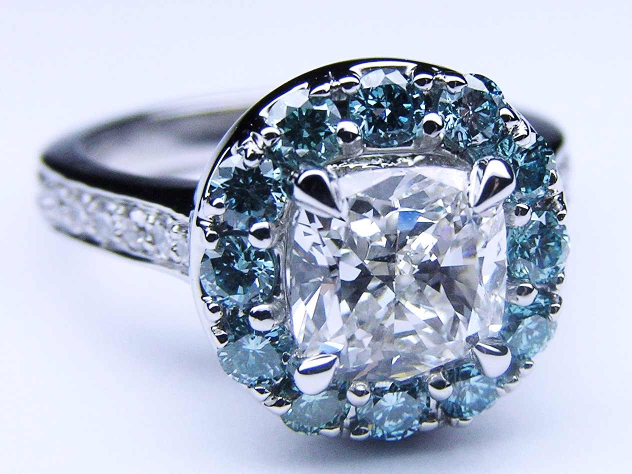 Cushion Diamond Cathedral Engagement Ring Blue Diamonds Halo in 14K White Gold