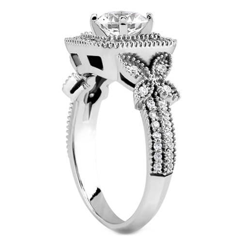 Vintage Style Princess Diamond Halo Butterfly Engagement Ring and Wrap Wedding Band