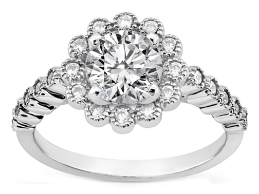 Floral Halo Diamond Milligrain Engagement Ring  in White Gold