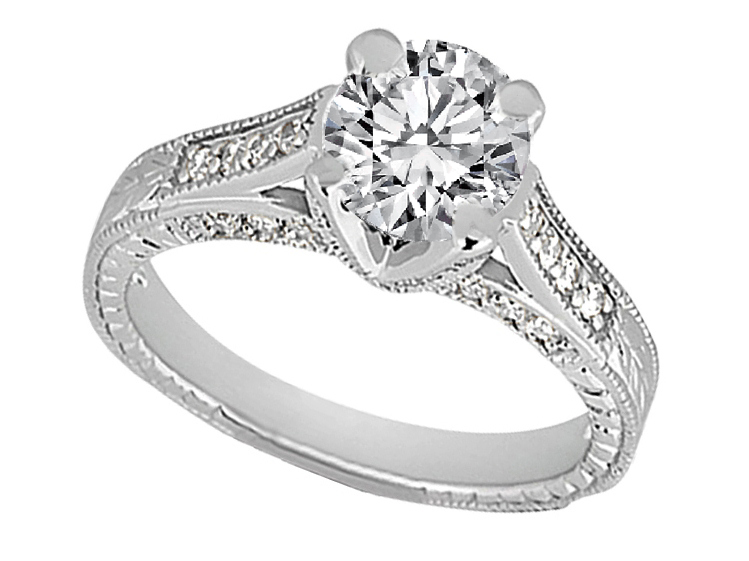Vintage Pave Cathedral Diamond Engagement Ring 0.40 tcw, in 14k White Gold