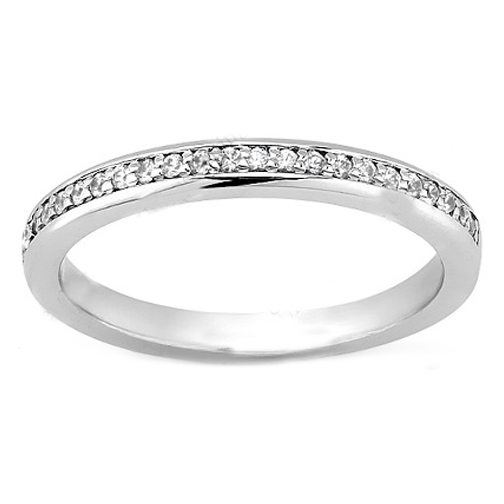Petite Round Diamond Pave Set Wedding Band