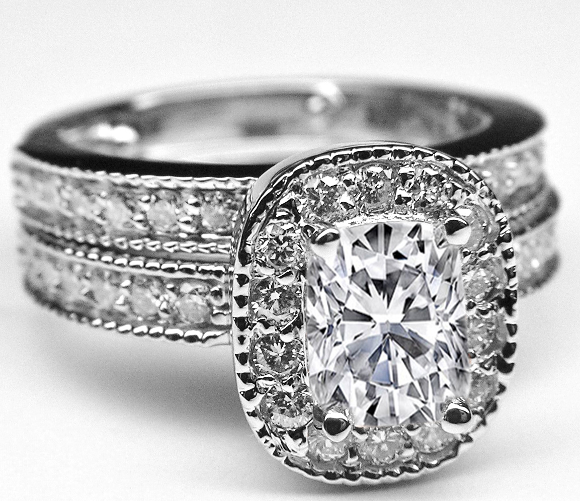 Cushion Diamond Halo Engagement Ring & Matching Wedding Ring in 14K White Gold