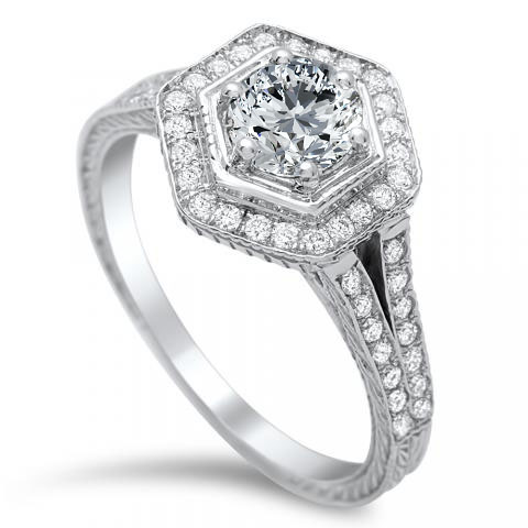 Hexagon Halo Diamond Engagement Ring in 14K White Gold