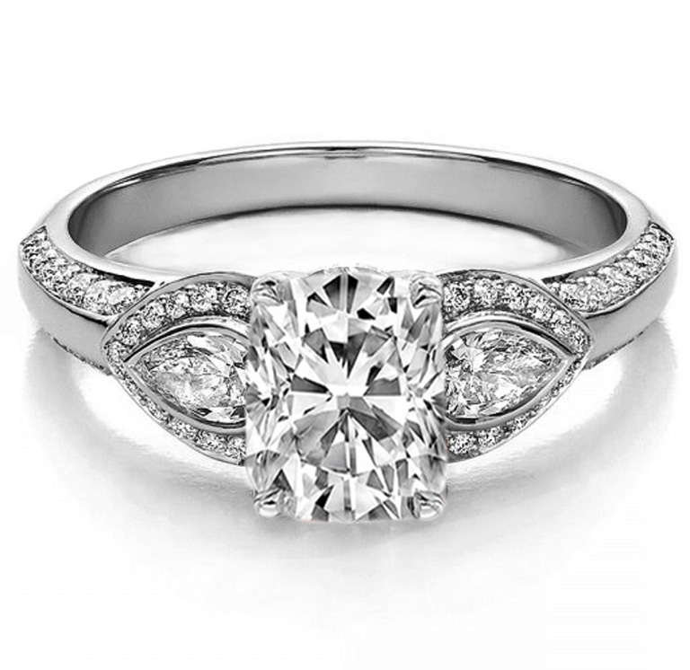 Cushion Diamond Engagement Ring Pear side stones in 14K White Gold