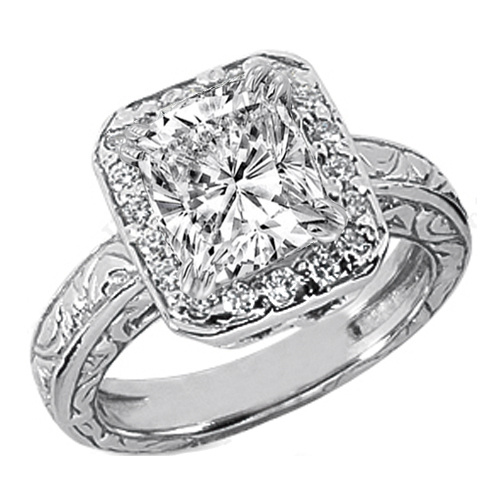 Cushion Diamond Halo Engagement Ring Wide engraved band 0.18 tcw. In 14K White Gold