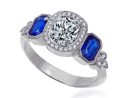 Cushion Diamond Halo Engagement Ring Blue Sapphire Side Stones