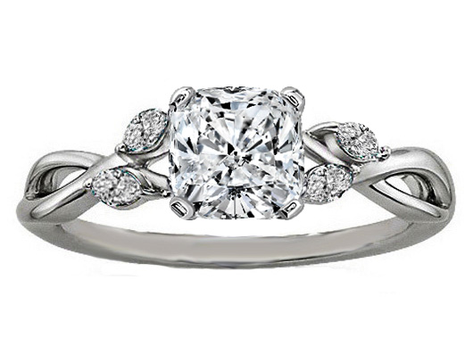 Cushion Diamond Engagement Ring Floral Marquise Vine in 14K White Gold