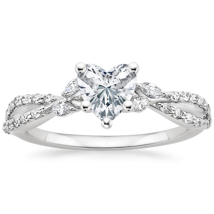 Heart Diamond Engagement Ring Marquise Floral Vine