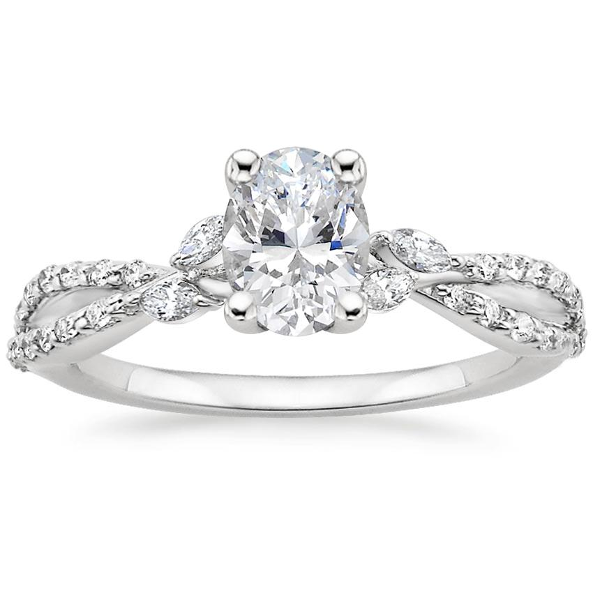 Oval Diamond Engagement Ring Marquise Floral Vine