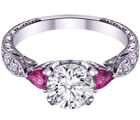 Diamond Engagement Ring Pink Sapphire Pear side stones Hand Engraved White Gold band