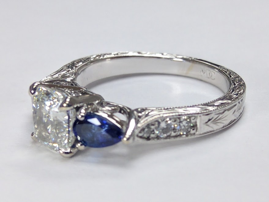 Cushion Diamond Engagement Ring Blue Sapphire Pear side stones Hand engraved White Gold band