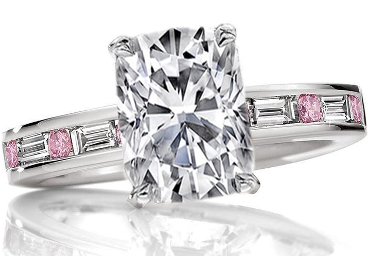 Cushion Diamond Engagement Ring Natural Fancy Pink Diamonds Band