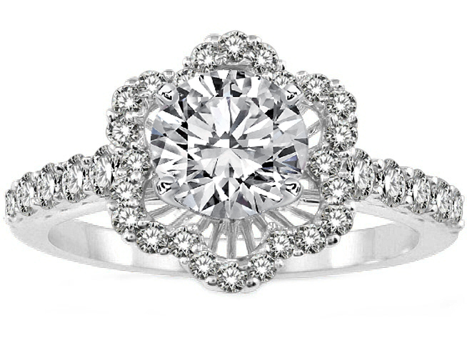 Diamond Halo Engagement Ring in White Gold