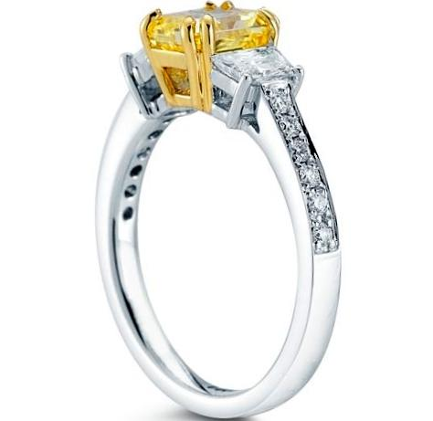 Fancy  Yellow Radiant Diamond Three Stone Platinum Ring