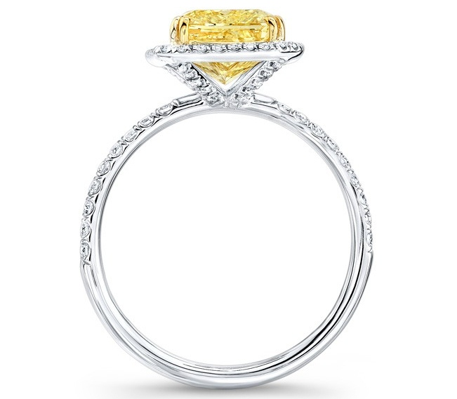Fancy Yellow Radiant Diamond White Diamond Halo Engagement Ring