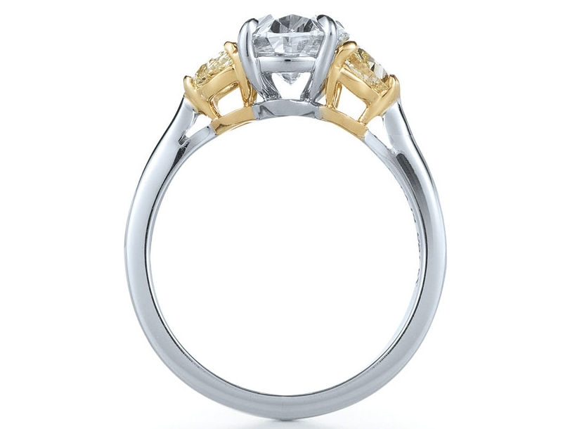 Oval Diamond Engagement Ring Fancy Yellow Half Moon Side Stones in 14K White Gold