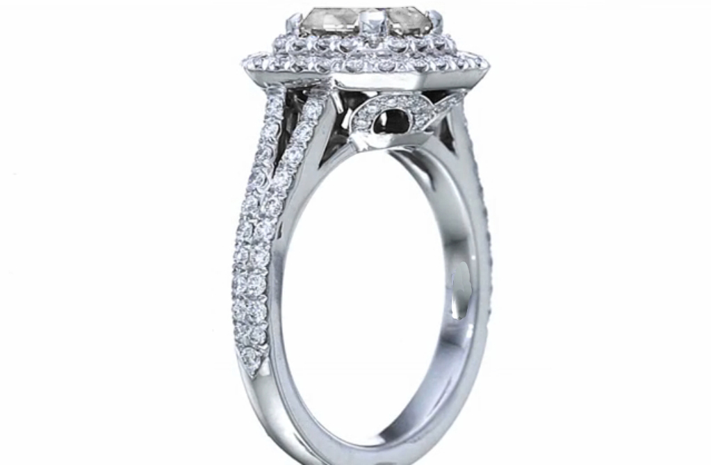 Double Halo Radiant Diamond Engagement Ring in 14K White Gold