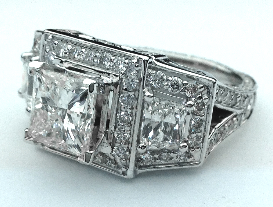 Large Princess Cut Diamond Engagement Ring Brilliant Trapezoids side Diamonds