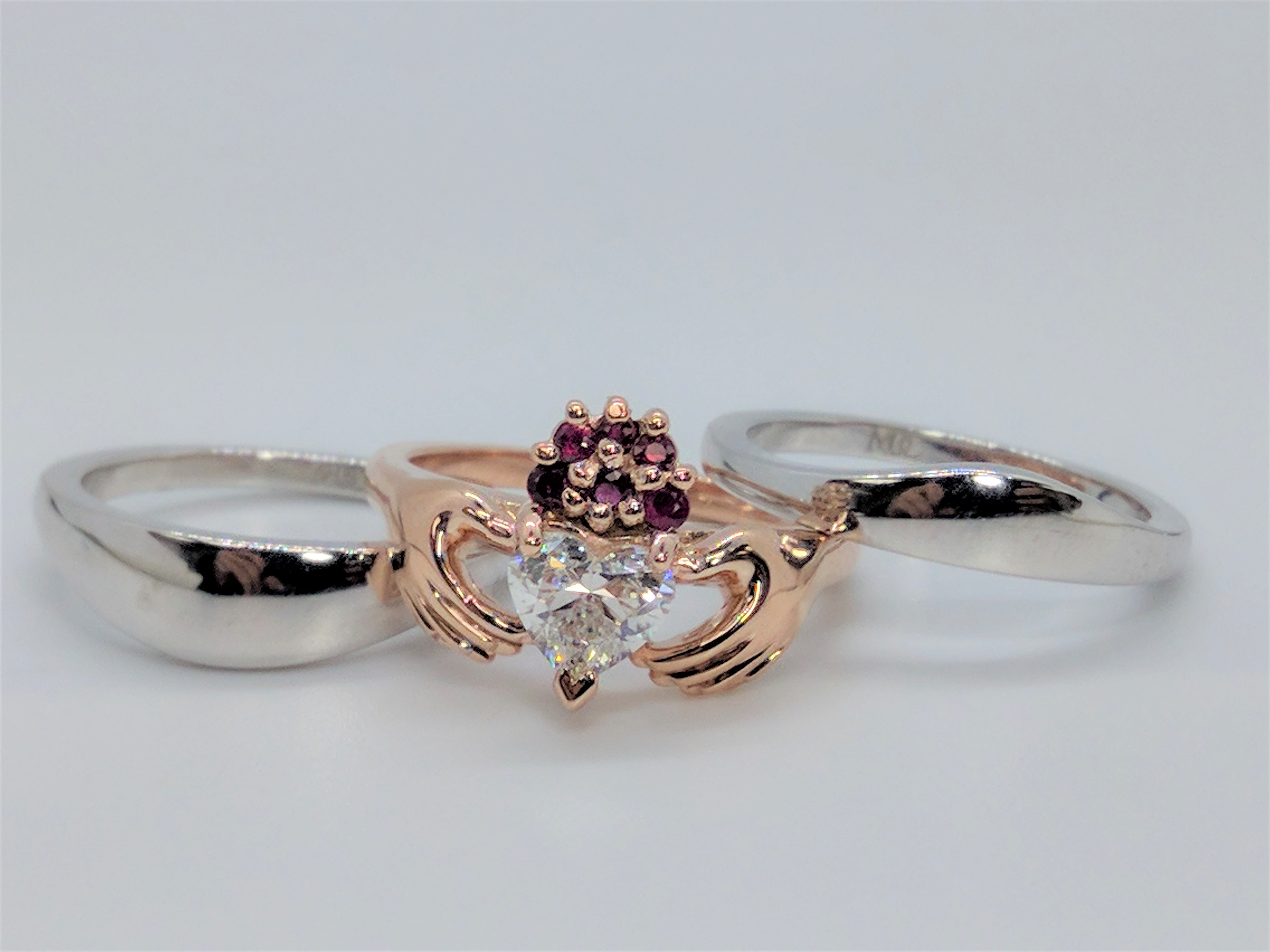 Claddagh Heart Diamond Ruby Engagement Ring Rose Gold