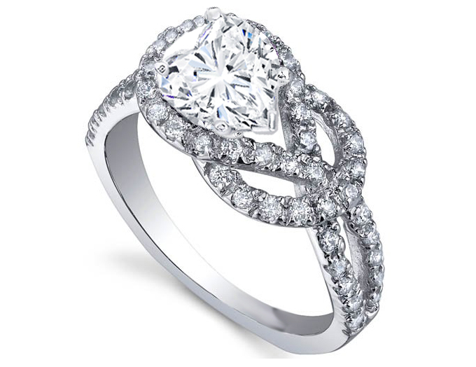 Love Knot Heart Diamond Engagement Ring 0.4 tcw in 14K White Gold