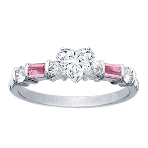 Heart Shape Diamond Engagement Ring Pink Sapphires Baguettes Band in 14K White Gold