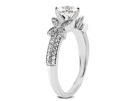 Butterfly Diamond Engagement Ring in 14K White Gold