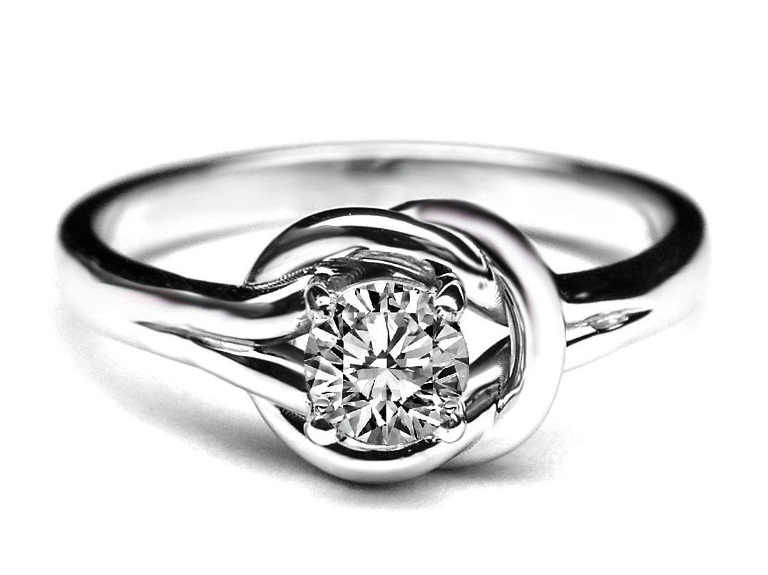 Love Knot Solitaire Diamond Engagement Ring in 14K White Gold