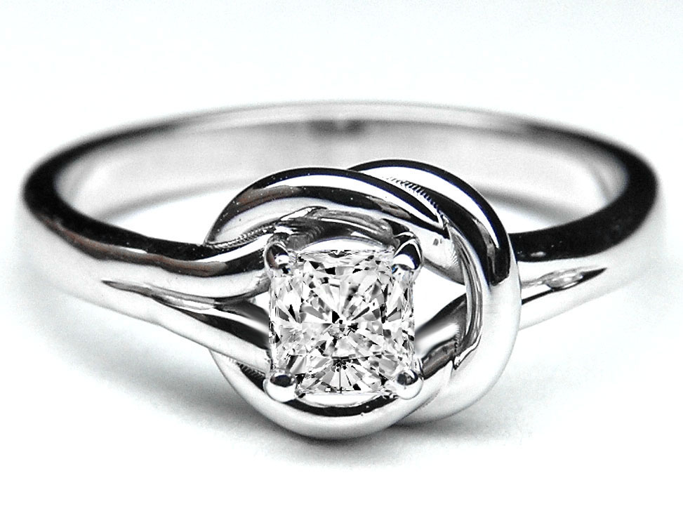 Cushion Diamond Love Knot Solitaire Engagement Ring in 14K White Gold