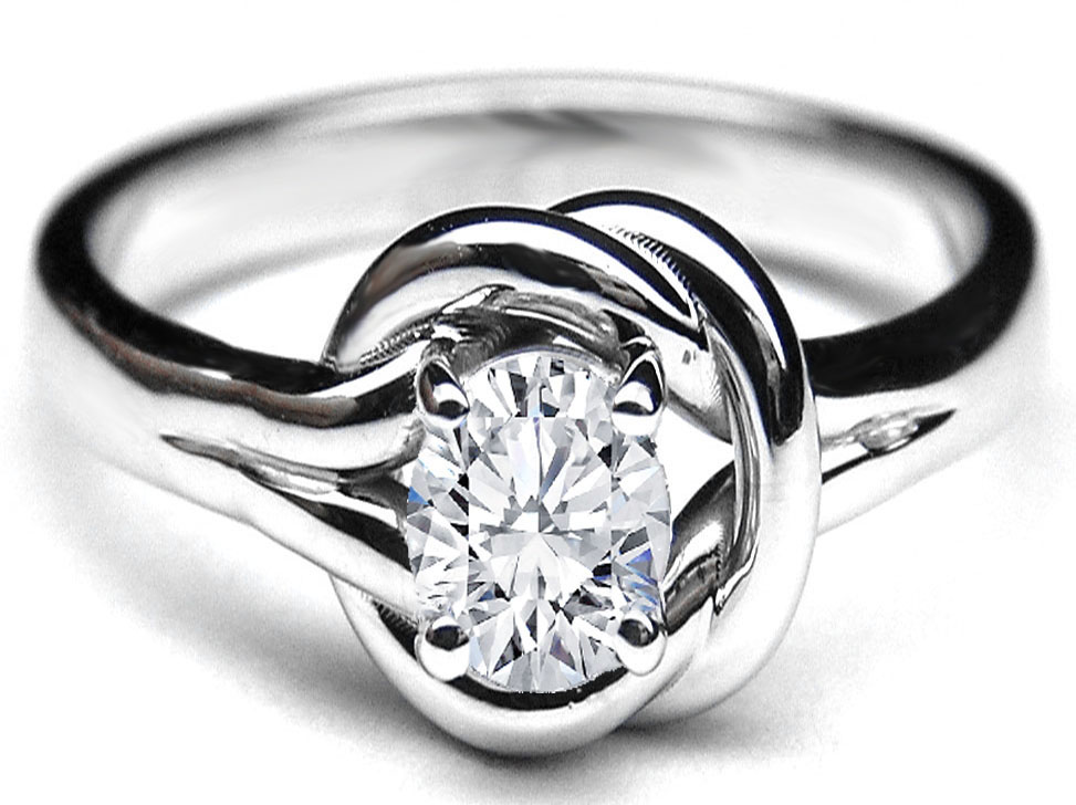Oval Diamond Love Knot Solitaire Engagement Ring in 14K White Gold