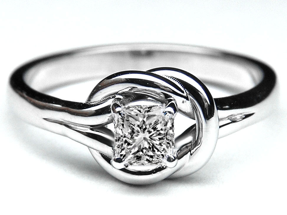 Princess Diamond Love Knot Solitaire Engagement Ring in 14K White Gold