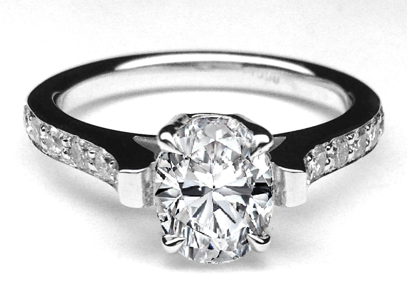 Oval Diamond Cathedral Engagement Ring