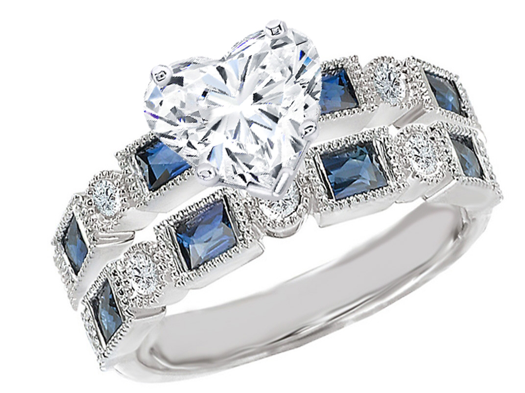ring baguette sapphire accent rings asscher blue unusual diamond cut engagement