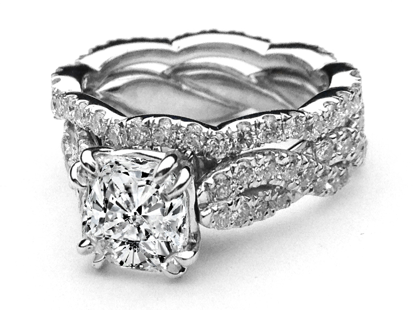 Cushion Diamond Infinity Eternity Bridal Set Engagement Ring & Wrap Wedding Ring in 14K White Gold