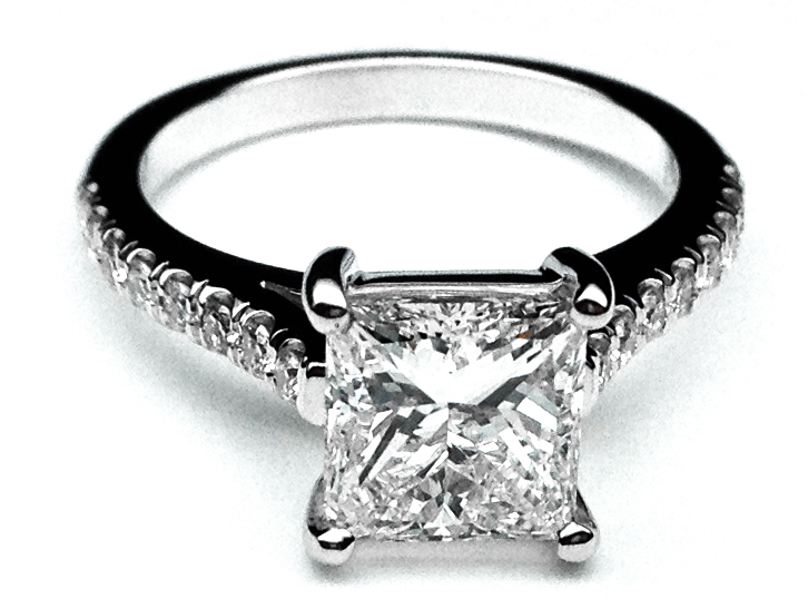 Princess Diamond Pave Band Engagement Ring in 14K White Gold