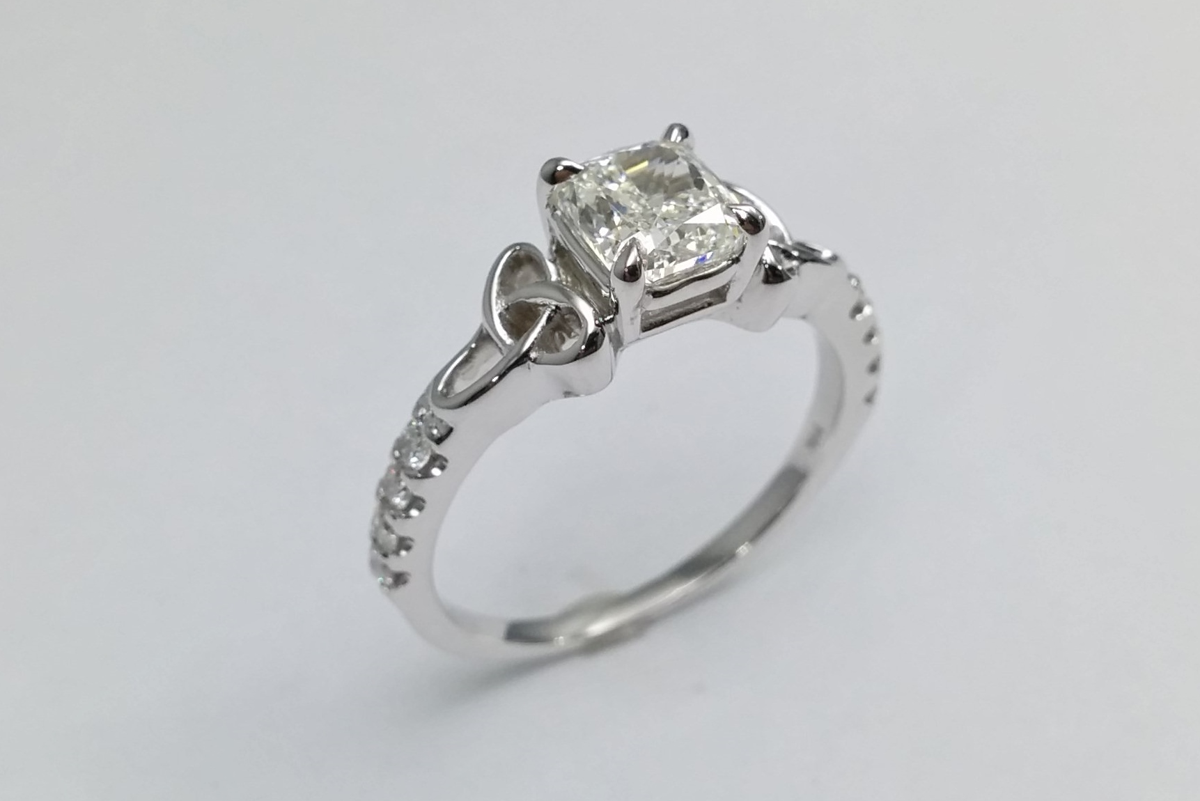 Cushion Diamond Celtic Knot Engagement Ring in 14K White Gold Band