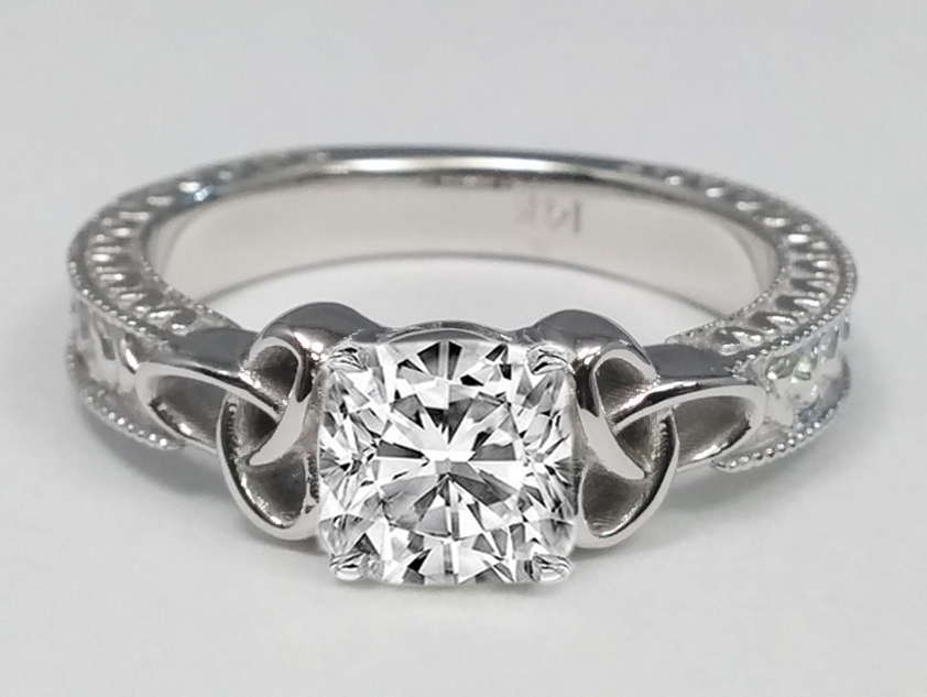 Wheat Engraved Celtic Cushion Engagement Ring in 14K White Gold