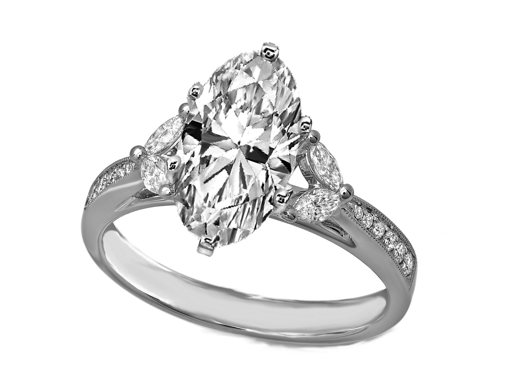 Oval Diamond Cathedral Engagement Ring Marquise Sides in 14K White Gold