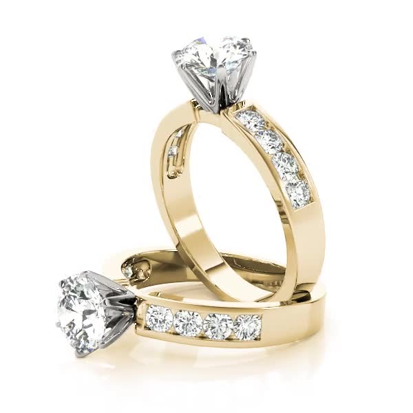 Solitaire Engagement Ring with Diamond Band, Yellow Gold
